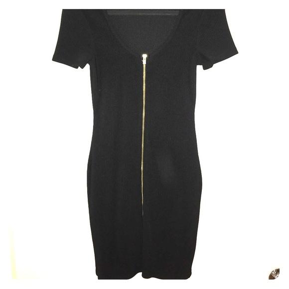 08fb858f8814 Express Dresses | Black Short Sleeve Mini Dress With Front Zipper ...